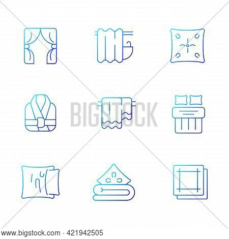 Home Textile Products Gradient Linear Vector Icons Set. Window Blinds. Shower Curtains. Pillow Case.
