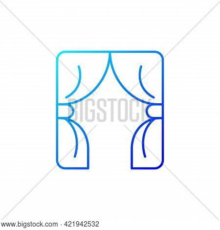 Curtains Gradient Linear Vector Icon. Window Blinds. Open Drapes For Theater Stage. Textile Products