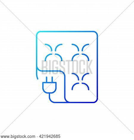 Electric Blanket Gradient Linear Vector Icon. Comfortable Bedding. Warm Sheets With Control. Textile