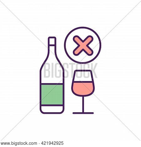 No Alcohol Rgb Color Icon. Isolated Vector Illustration. Fighting With Alcoholism Problem. Curing Hu