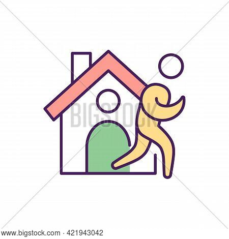 Rehabilitation Facility Rgb Color Icon. Isolated Vector Illustration. Helping People To Get Free Fro