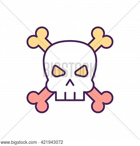 Dangerous Addictions Rgb Color Icon. Isolated Vector Illustration. Diseases That Result Human Death.
