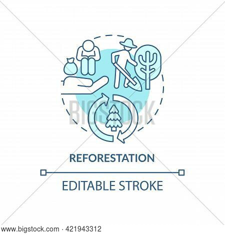 Reforestation Concept Icon. Carbon Offsetting Benefit Abstract Idea Thin Line Illustration. Planting