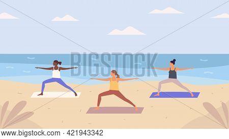 Group Of Women Doing Yoga On Sandy  Beach. Beach Yoga Class,open Air Workout, Physical Exercise. Fla