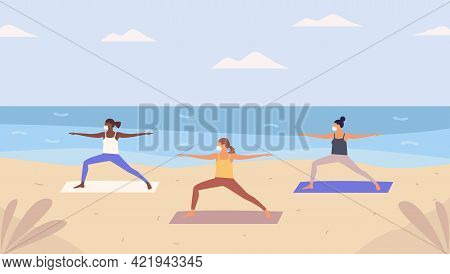 Group Of Women With Respiratory Mask Doing Yoga On Sandy  Beach. Beach Yoga Class,new Reality Open A