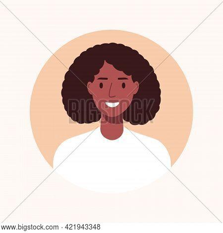 Black Businesswoman Avatar, Portrait Of Young Female. Vector Illustration Cartoon Flat Style.