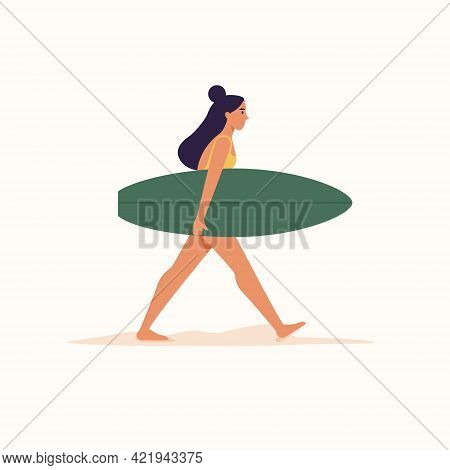 Woman Walking With Surfboard On Isolated White Background. Vector Illustration Cartoon Flat Style