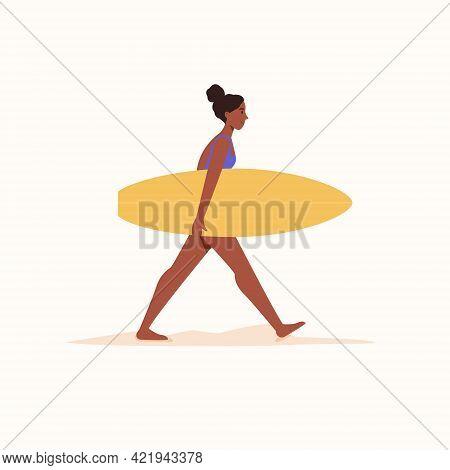 Dark Skin Woman Walking With Surfboard On Isolated White Background. Vector Illustration Cartoon Fla