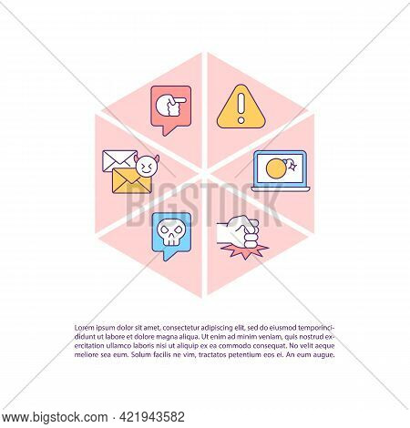 Harassing People Online Concept Line Icons With Text. Ppt Page Vector Template With Copy Space. Broc