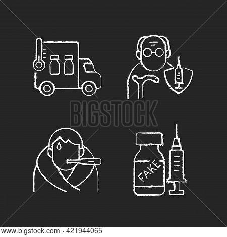 Covid Spread Prevention Chalk White Icons Set On Black Background. Vaccine Distribution. Senior Pati