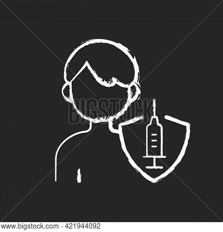 Vaccination Of Teens Chalk White Icon On Black Background. Teenage Child Immunization. Hospital Pati