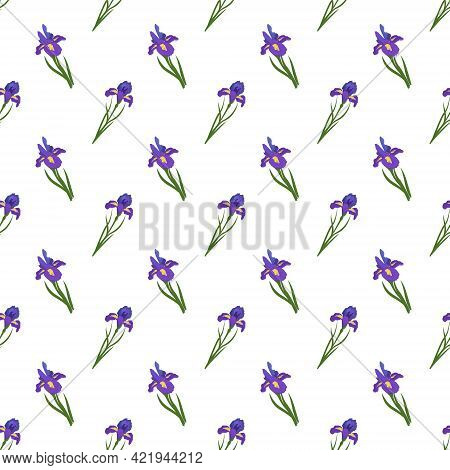 Cute Seamless Pattern Of Iris Flowers. Bright Spring And Summer Print With Green Leaves. Holiday Dec