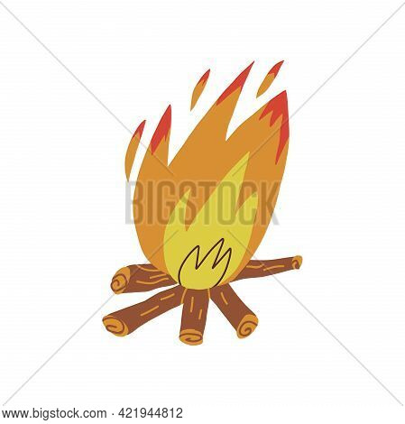 A Cute Hand-drawn Large Flaring Bonfire With Firewood. Cartoon Style Isolated Vector Illustration.