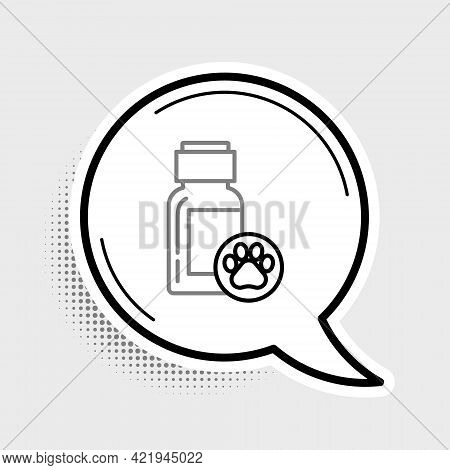 Line Dog Medicine Bottle Icon Isolated On Grey Background. Container With Pills. Prescription Medici