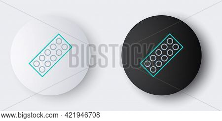Line Pills In Blister Pack Icon Isolated On Grey Background. Medical Drug Package For Tablet, Vitami