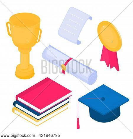 Isometric Mortarboard, Winner Cup, Diploma, Golden Medal, Books. Set Of Vector Graduation Icons On W
