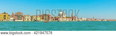 Panorama Of San Marco Bell Tower In San Marco Square In Venice With Saint Mark Basilica Of The Famou