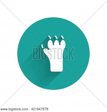 White Paw Print Icon Isolated With Long Shadow. Dog Or Cat Paw Print. Animal Track. Green Circle But