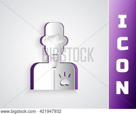 Paper Cut Veterinarian Doctor Icon Isolated On Grey Background. Paper Art Style. Vector