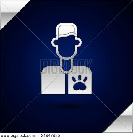 Silver Veterinarian Doctor Icon Isolated On Dark Blue Background. Vector