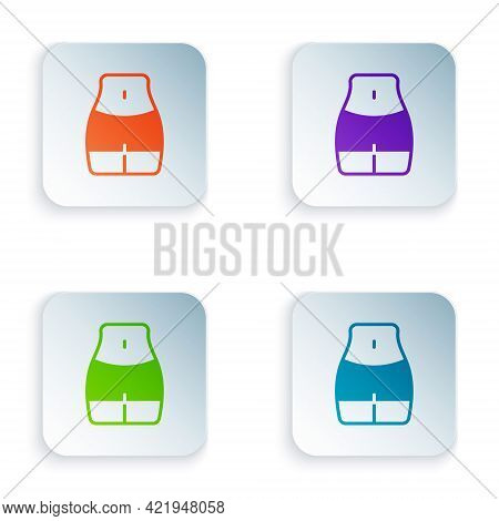 Color Women Waist Icon Isolated On White Background. Set Colorful Icons In Square Buttons. Vector