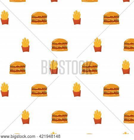 Burger And French Fry Seamless Pattern On White Background. Vector Stock Illustration For Fast Food