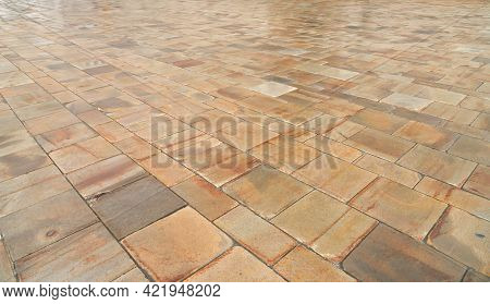 Abstract Background. Old Cobblestone Pavement Close Up. Wide Format.