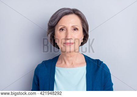 Portrait Of Nice Attractive Content Gray Haired Woman Wearing Cardigan Isolated Over Grey Pastel Col