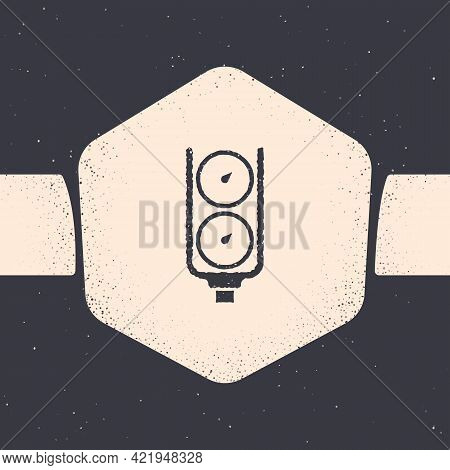 Grunge Gauge Scale Icon Isolated On Grey Background. Satisfaction, Temperature, Manometer, Risk, Rat