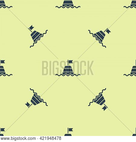 Blue Floating Buoy On The Sea Icon Isolated Seamless Pattern On Yellow Background. Vector