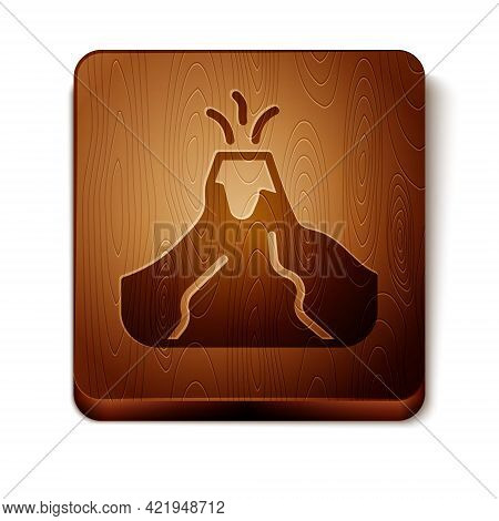 Brown Volcano Eruption With Lava Icon Isolated On White Background. Wooden Square Button. Vector