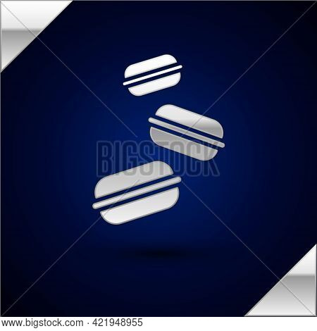 Silver Macaron Cookie Icon Isolated On Dark Blue Background. Macaroon Sweet Bakery. Vector
