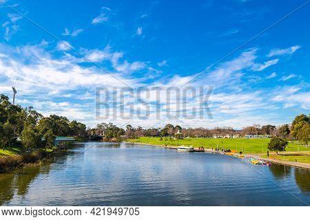 Adelaide, South Australia - August 4, 2019: Adelaide Riverbank Viewed Towards Rotunda Across The Tor