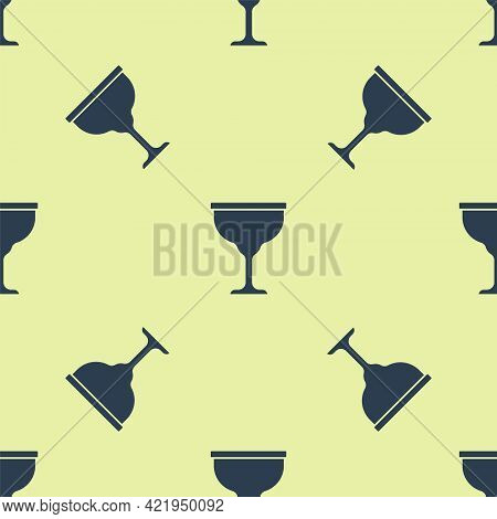 Blue Jewish Goblet Icon Isolated Seamless Pattern On Yellow Background. Jewish Wine Cup For Kiddush.