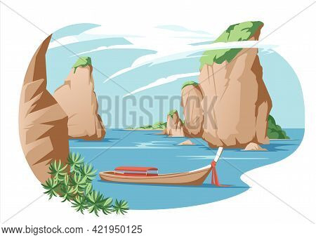 Asian Thailand Seaside Traditional Rest Vacation Landscape. Sea  Beach With Mountain Coast Seaside V