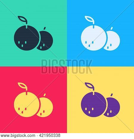 Pop Art Tangerine Icon Isolated On Color Background. Merry Christmas And Happy New Year. Vector