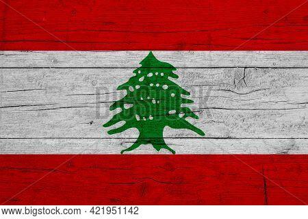 Flag Of Lebanon. Wooden Texture Of The Flag Of Lebanon.