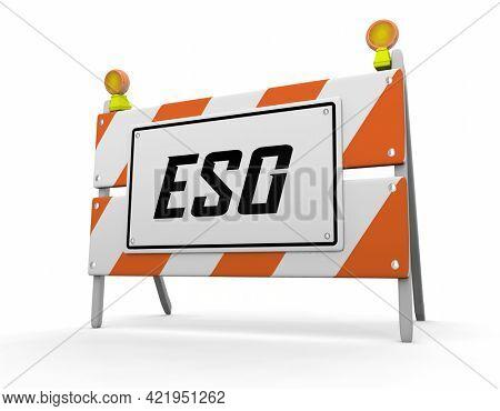 ESG Environmental Social Corporate Governance Sustainability Under Construction Progress 3d Illustration
