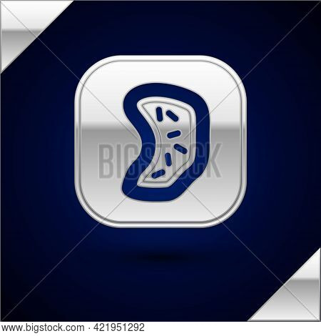 Silver Bacteria Icon Isolated On Dark Blue Background. Bacteria And Germs, Microorganism Disease Cau