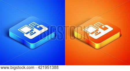 Isometric Computer Monitor With Keyboard And Mouse Icon Isolated On Blue And Orange Background. Pc C