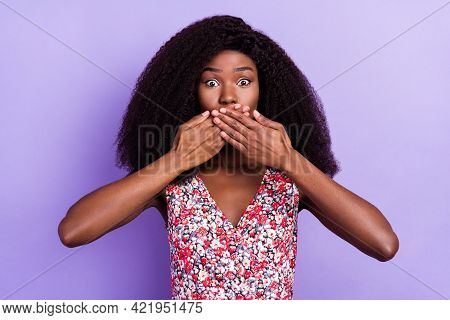 Photo Of Young Afro Girl Cover Mouth Hands Oops Fail Problem Anxious Nervous Isolated Over Purple Co