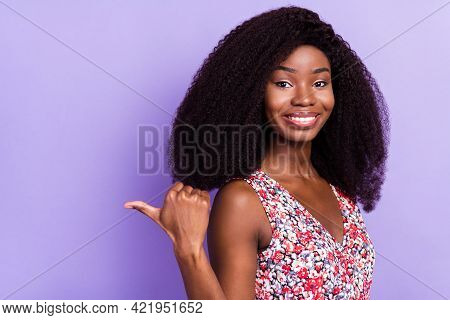 Photo Of Young Afro Girl Happy Smile Indicate Thumb Empty Space Ad Advise Sale Suggest Isolated Over