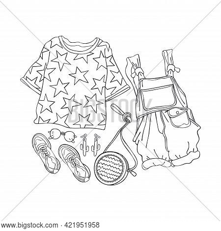 Women's Clothing. Fashionable Set. Sketch Art. Isolated Vector Object On White Background. Cartoon P