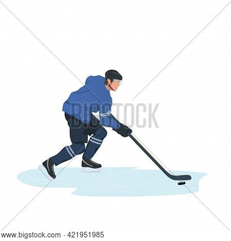 Game Moment Of A Hockey Match. Two Players Are Fighting For Possession Of The Puck. Ice Hockey Playe