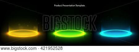 Glow Neon Circle. Glowing Ring On Floor. Abstract Hi-tech Background For Display Product. Vector Tem