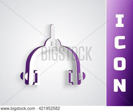 Paper Cut Bicycle Brake Calipers Dual Pivot Icon Isolated On Grey Background. Bicycle Brake Wire. Pa