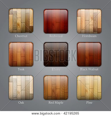 Set Of Wood Icons