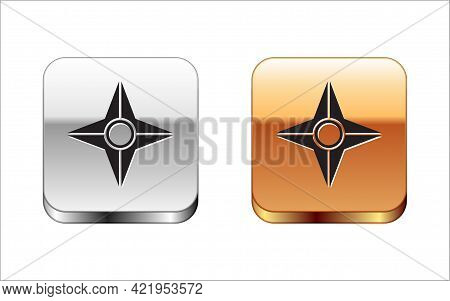 Black Japanese Ninja Shuriken Icon Isolated On White Background. Silver-gold Square Button. Vector