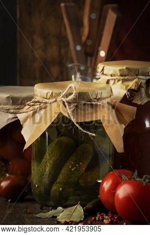 Fermented, Pickled, Marinated Preserved Vegan Food. Organic Vegetables And Fruits In Jars With Spice