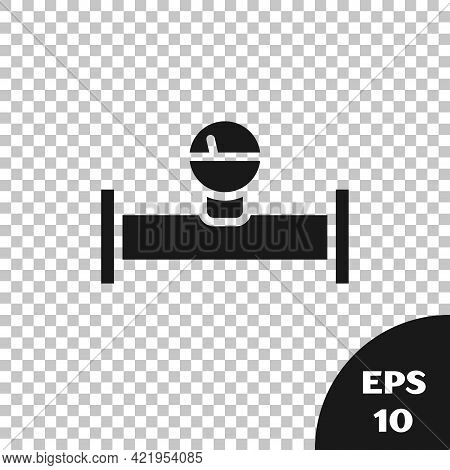 Black Industry Metallic Pipe And Manometer Icon Isolated On Transparent Background. Vector